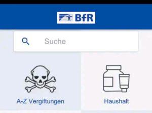 Vergiftungsunfälle BfR App